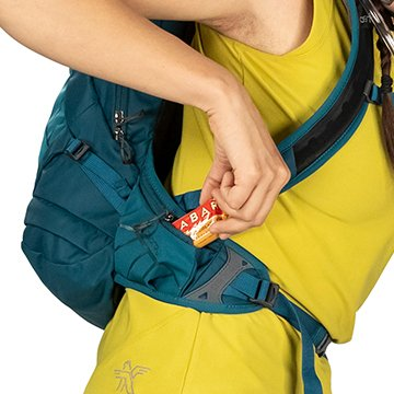 Dual hip belt zippered pockets keep essentials and snacks easy to access.