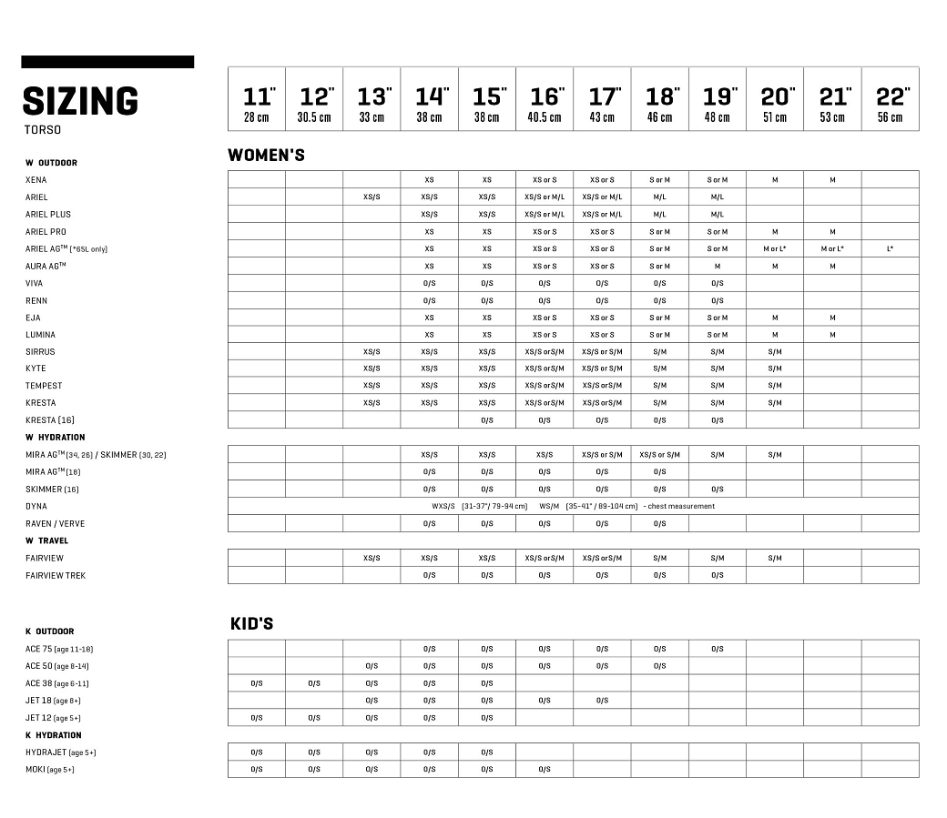 Sizing & Fitting - Osprey Packs Official Site