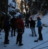 Majka gives pointers in the canyon.