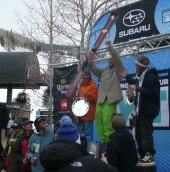 Men's podium; that's Telluride's Travis Wolfe taking first
