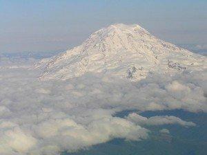 Mount Rainier Flying into Seattle
