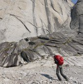 Madaleine approaching Mount Proboscis