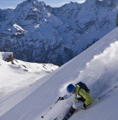A morning in Murren. The Eiger, Jungfrau and Monch provide plenty of eye candy while skiing Murren.