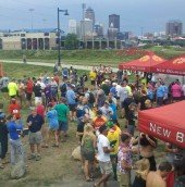 On the greenway with a great view of downtown Des Moines
