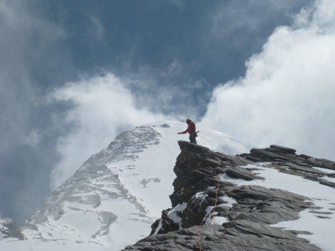 Jon Miller scatters the ashes of our dear friend Jack Roberts on Pisang peak, Annapurna region Nepal.