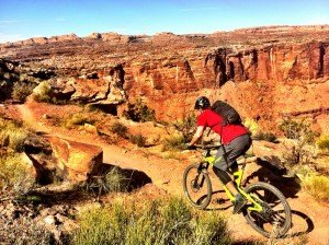 Ripping down Porcupine Rim, Moab.