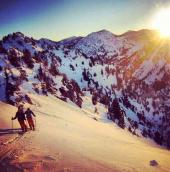 Riley and Jackson following the ridge