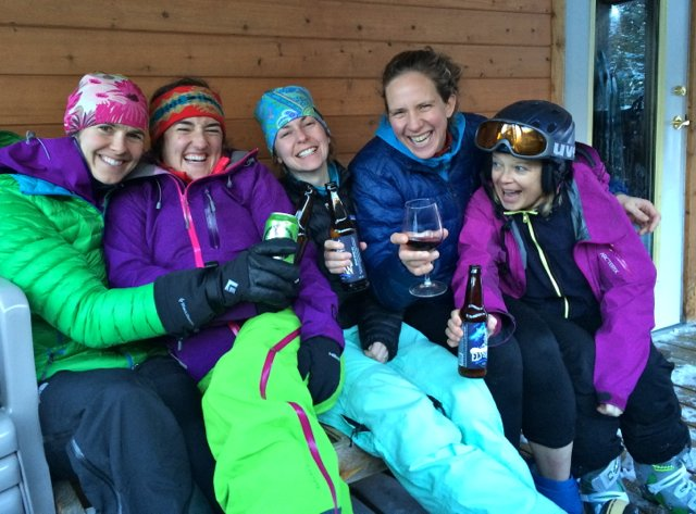 """The epitome of winter bliss. Rosy cheeks, tired legs and great friends to celebrate with. """"Porch beers"""" was part of the daily schedule of the VMT Women's Week."""