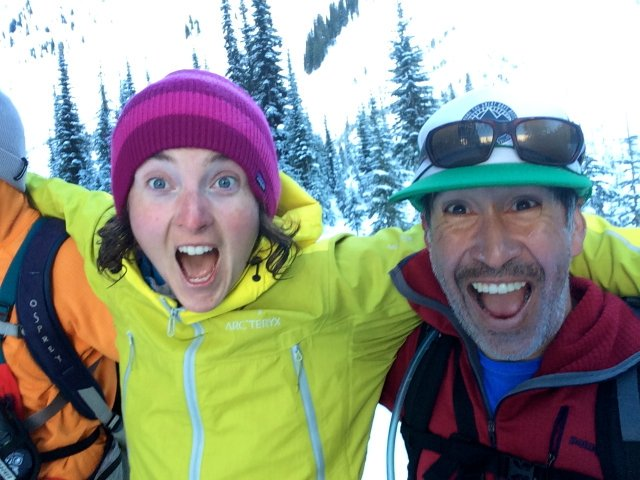 """Happy guests post-Baron Bowl shred. """"I can't believe we just skied that!"""""""