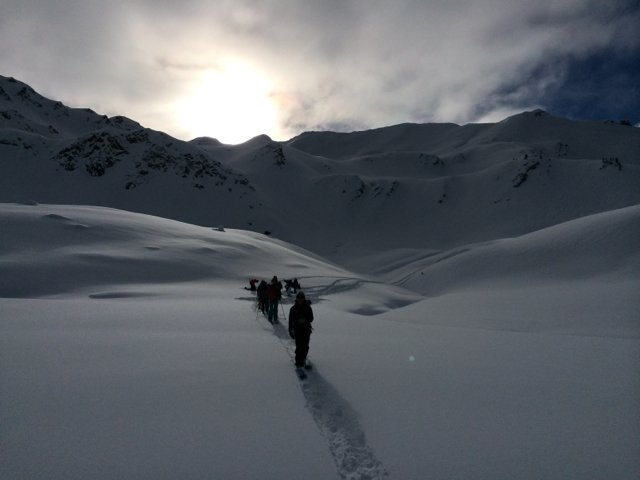 Bhumi Mountain Camp participants skinning across the Secret Valley at Sentry Lodge