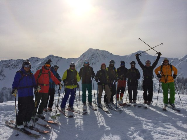 Guests at Retallack enjoying some ridge time between snow-cat assisted laps. Only girls on the mountain were the guides!