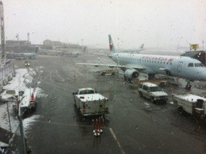 Happy to be leaving winter behind at the Calgary airport