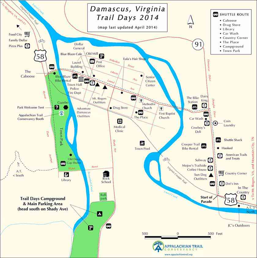 Damascus Trail Days 2014 map | Osprey Packs