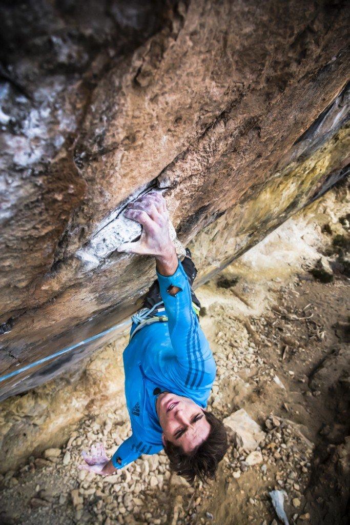 Ben Rueck on Gutless Wonder -- 5.14b, Fault Wall, Puoux -- Glenwood Springs, CO