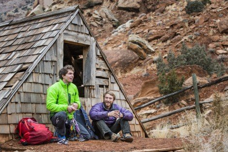 Ben Rueck and Sam Feuerborn figure out a game plan in Escalante Canyon, CO