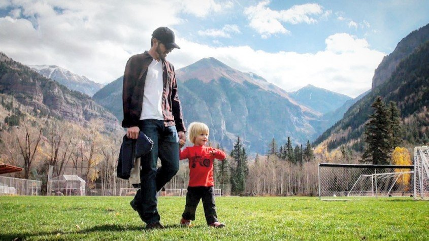 Ben and Charlie Clark exploring Town Park in Telluride, Co.