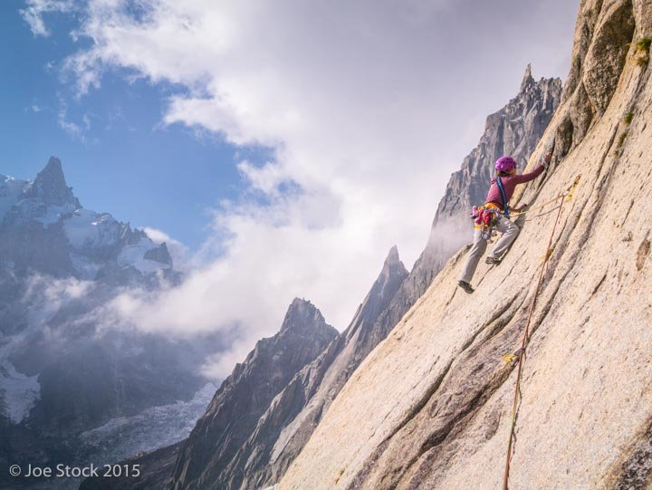 Cathy Flanagan rock climbing at the Envers, Mont Blanc, Chamonix, France.