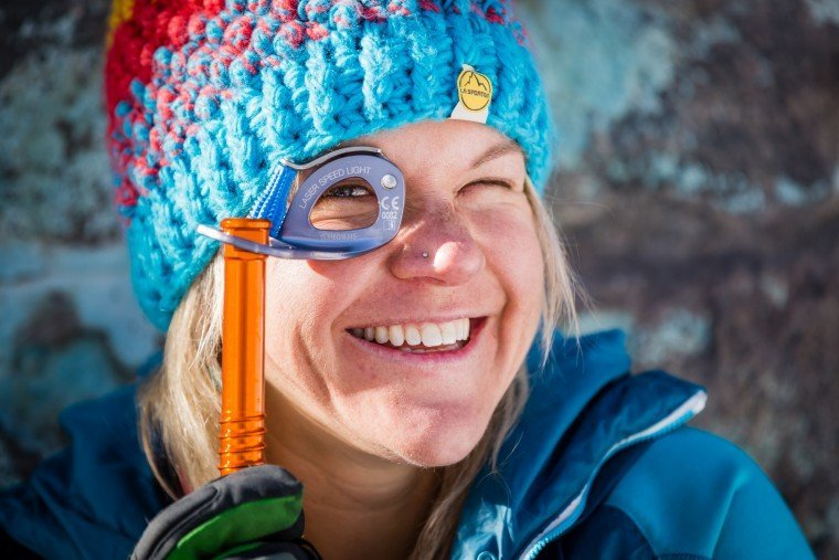 Anna Pfaff sorts her gear in Ouray, Colorado