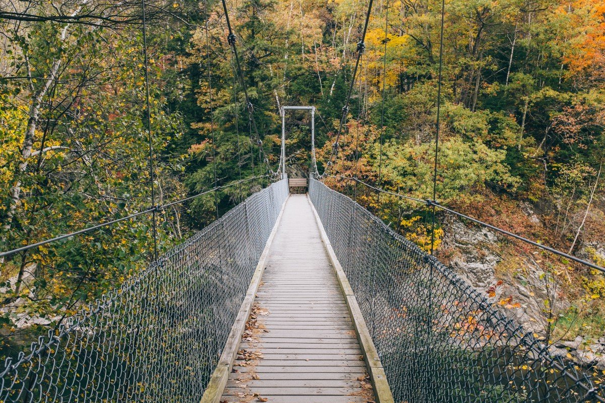 A beautifully built suspension bridge that leads the Long Trail over the Lamoille River.