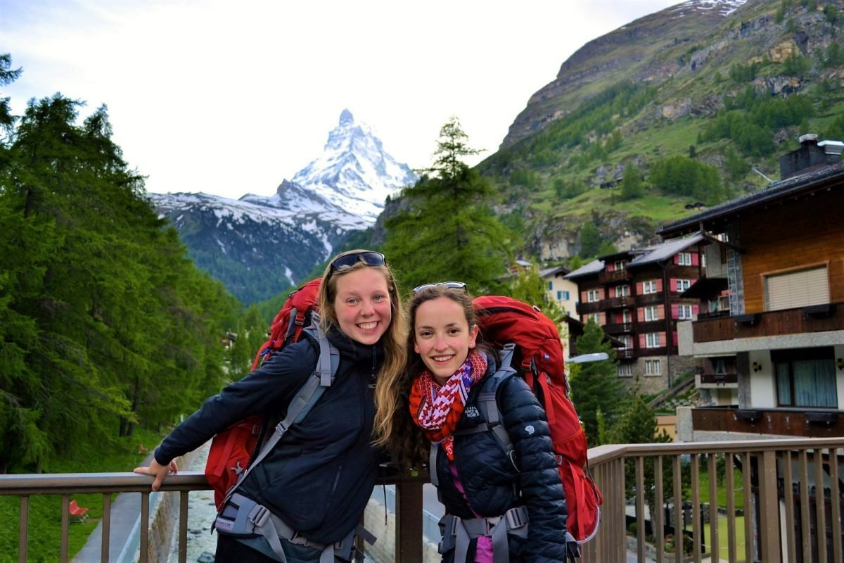 Backpacking trip around Europe in 2014. Picture taken by Rachel Whalen in Zermatt, Switzerland in front of the Matterhorn.