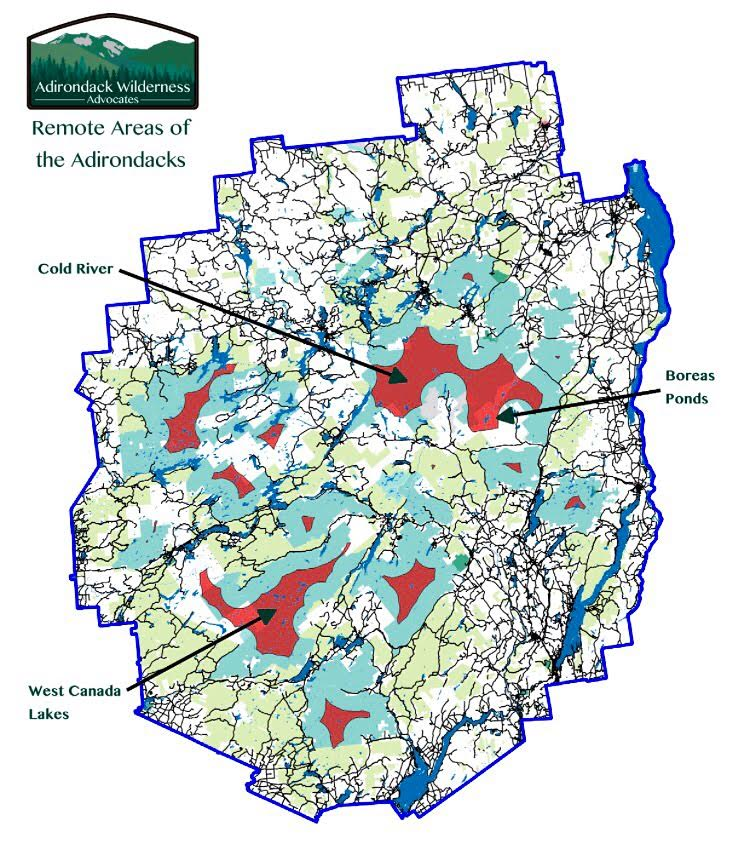 Only 5% of the Adirondack Park is more than 3 miles from a road or snowmobile trail.