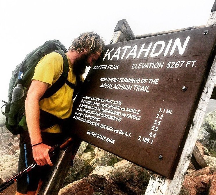 Tyler Socash has an emotional finish to his 7,000-mile thru-hiking quest on Katahdin in Maine.