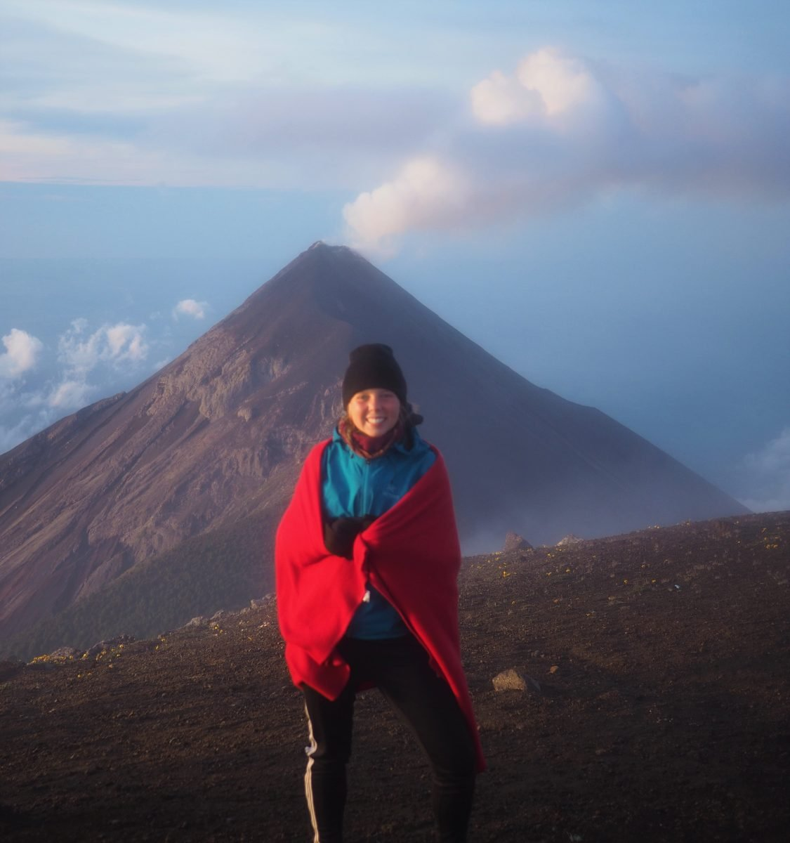 Guatemala Backpacking trip in 2016. Picture of my happiness at the summit of the Acatenango Volcano and in front of the Fuego Volcano taken by Nate Powell.